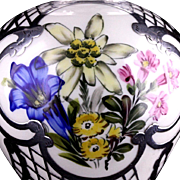 Thomas Ivory Germany Beautiful Hand Painted Flowers Porcelain Silver Overlay Vase