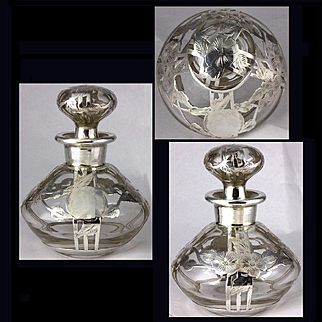 Antique Alvin CLEAR Glass Sterling Silver Overlay Perfume Bottle Steuben Shape 1006 Looks Almost New