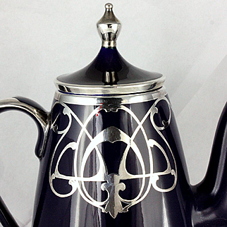 Antique Sterling Silver Overlay Cobalt Blue Ceramic or Porcelain Coffee Pot GLASS & CHINA DECORATORS LTD Montreal Canada