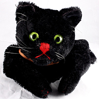 (Another!) Rare Gorgeous Early Steiff Black Cat Hand Puppet in time for Halloween