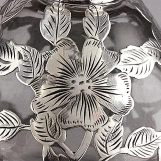 Antique Alvin Sterling Silver Overlay Perfume Bottle Steuben Shape 1006 Big Sister!