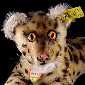 RARE Little Brother Steiff OCELOT Ozelot Reclining Wild Cat w Orange Eyes All ID 1964-1967 ONLY