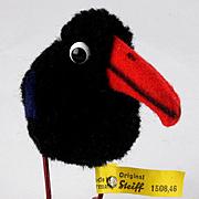 Steiff Wool Miniature PomPom Raven Rabe Bird w Metal Legs All ID