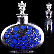 Blue Porcelain German Silver Overlay Crowntop Perfume Bottle Butterfly Design c 1920s-1940s Signed Deusch