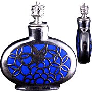 Blue Porcelain German Silver Overlay Crowntop Perfume Bottle Butterfly Design c 1920s-1940s Signed Deusch