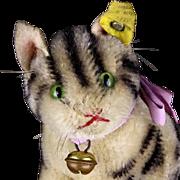 "RAREST! 12 CM Steiff ""Gray"" Susi Cat Kitten 2 IDs PLUS US-Zone Flag"