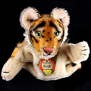 Handsome Early Steiff Tiger Wild Cat Hand Puppet ID