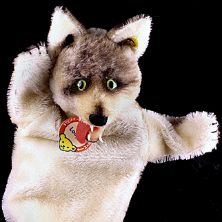 GORGEOUS and Rare Early Steiff Loopy Wolf Hand Puppet All ID '56-'58