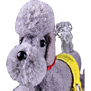 Earliest Model Steiff Gray Wool Miniature PomPom Poodle Puppy Dog for your Dolls All ID