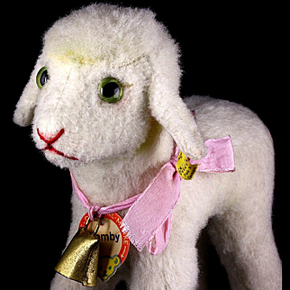 Middle Sister Steiff Wool Plush Lamby Lamb All ID and Working Squeaker