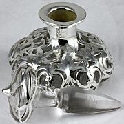 Antique Clear Glass Steuben Shape 1914 Lobed Melon Perfume Bottle Long Unusual Stopper Alvin Silver Overlay