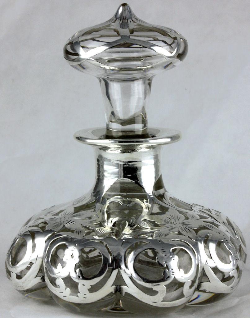 Antique Clear Glass Steuben Shape 1914 Lobed Melon Perfume