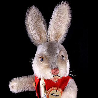 RARE! Steiff Dressed Standing Rabbit Bunny Hase Doll Figure NIKILI Gray Accents ID '58-'63 ONLY