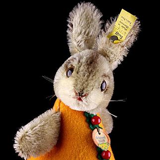 Rare Steiff BETTHUPFERLHASE Dressed Nightcap Bunny Rabbit Orange Dress All ID