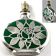Porcelain w Pure Silver Overlay Crown Top Perfume Bottle Depicting a Rose Flower Made in Germany c.1920-1950