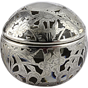 Rare Big Beautiful and HEAVY Antique Spherical Sterling Silver Overlay Glass Inkwell Ink Well Paper Weight