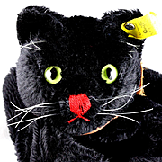 Rare and Handsome Steiff Black Tom Cat Hand Puppet 2 IDs