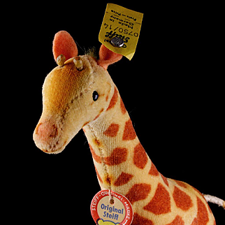 Tiny Brother (Sister?) Steiff Velveteen Baby Giraffe, All ID Near Mint