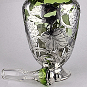Unusual Color AND Texture Sexy Antique La Pierre Sterling Silver Overlay Decanter Bottle Green to Clear Glass