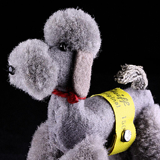 Earliest Series Tiny Jointed Steiff Wool Miniature Pom Pom Poodle Dog all ID Companion for Bild Lilly and Barbie Dolls