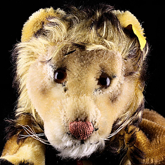 Rare Handsome and not at all Ferocious Steiff Early Leo Lion Wild Cat Hand Puppet All ID