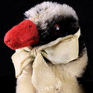 Tiny Sister Early Design Steiff Peggy Penguin Bird Fat Red Feet and Velveteen Wings ID