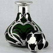 DARK Green Glass Antique Gorham Sterling Silver Overlay Perfume Bottle