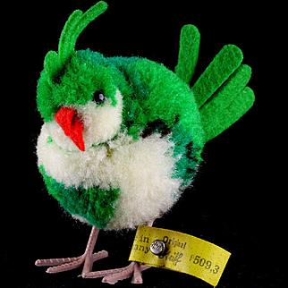 Steiff '50s Green Wool Miniature PomPom Exotic Bird All ID Near Mint