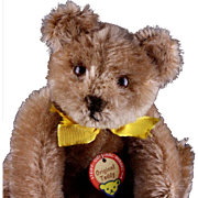 Rare Early Post WWII Steiff Sweet Little Brother 5xJointed Original Teddy Bear Red Printed Chest Tag