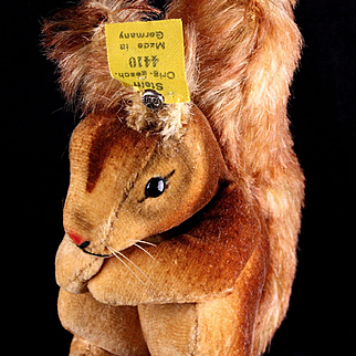 Early Post WWII Tiny Steiff Brown Velveteen Squirrel Eichhorn All ID