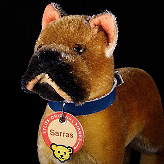 Rare Early Post WWII Steiff Standing Sarras Boxer Dog Red-Printed Chest Tag and US-Zone Flag