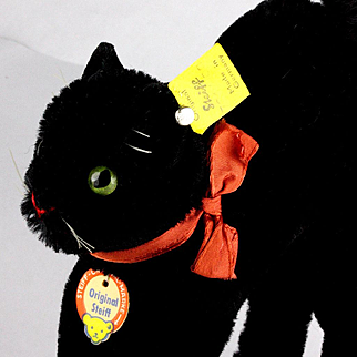 Handsome and Sweet Little Mohair Brother Steiff BLACK Tom Cat All ID Not Just for Halloween