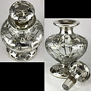 Large Heavy Footed Antique Cologne Perfume Bottle Alvin Silver Overlay