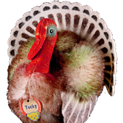 Rare Colorful Mohair and Felt Little Brother Steiff Tucky Turkey Bird 2 1/2 IDs UGLY!