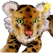 Early Little Brother Steiff Reclining Leopard Wild Cat 2 IDs Magic Eyes