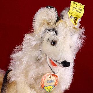 Rare Tiny Steiff Seated Collie Puppy Dog All ID