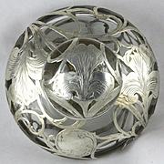 Large Heavy Antique Alvin Sterling Silver Overlay Perfume Bottle Iris Design