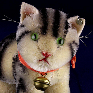 Rare Earliest Post WWII Model Tabby Striped Seated Susi Cat Kitten Gorgeous Coloring Old Design IDs US-Zone