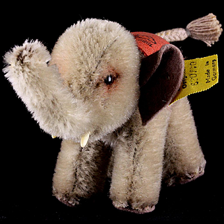 Rare Steiff 75th ANNIVERSARY Baby Elephant Imprinted on Saddle All ID 1955 Only!