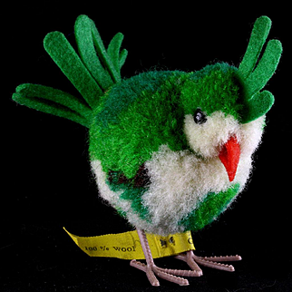 Rare Steiff Green Wool Miniature PomPom Exotic Bird All ID