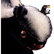 Rare Tiny Standing Steiff BLACK Velveteen and Mohair Steiff Skunk Not at all Stinky ID '62-'63 Only