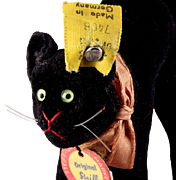 Earliest Post WWII Series Steiff Baby Brother BLACK Velveteen Tom Cat Kitten All ID not just for Halloween