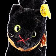 Smallest Mohair Brother Steiff Black Tom Cat 2 IDs Glass Eyes