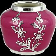 Post WWII German Johann Haviland Pink Porcelain Silver Overlay Cabinet Vase Rosenthal Mark