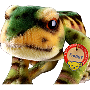 1960s Big Handsome and Colorful Steiff Mohair Froggy Frog ID a Real Prince and He Croaks!