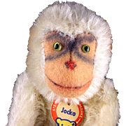 Rare and Amazing Big Brother White Steiff 5xJointed Jocko Chimpanzee (NOT Monkey) ALL ID Near Mint