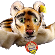 Rare Gorgeous Early Model Steiff Tiger Wild Cat Hand Puppet All ID (PRISTINE CHEST TAG) Near Mint '52-'58