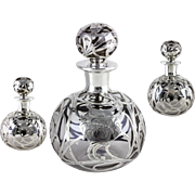 Antique Alvin (VERY) Clear Glass Silver Overlay Perfume Bottle