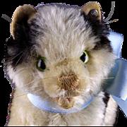 Rare Early Model Steiff Gussy Kitten Cat Glass Eyes Happy Open Mouth ID