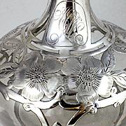Large Antique Gorham Silver Overlay Perfume Scent Bottle Decanter